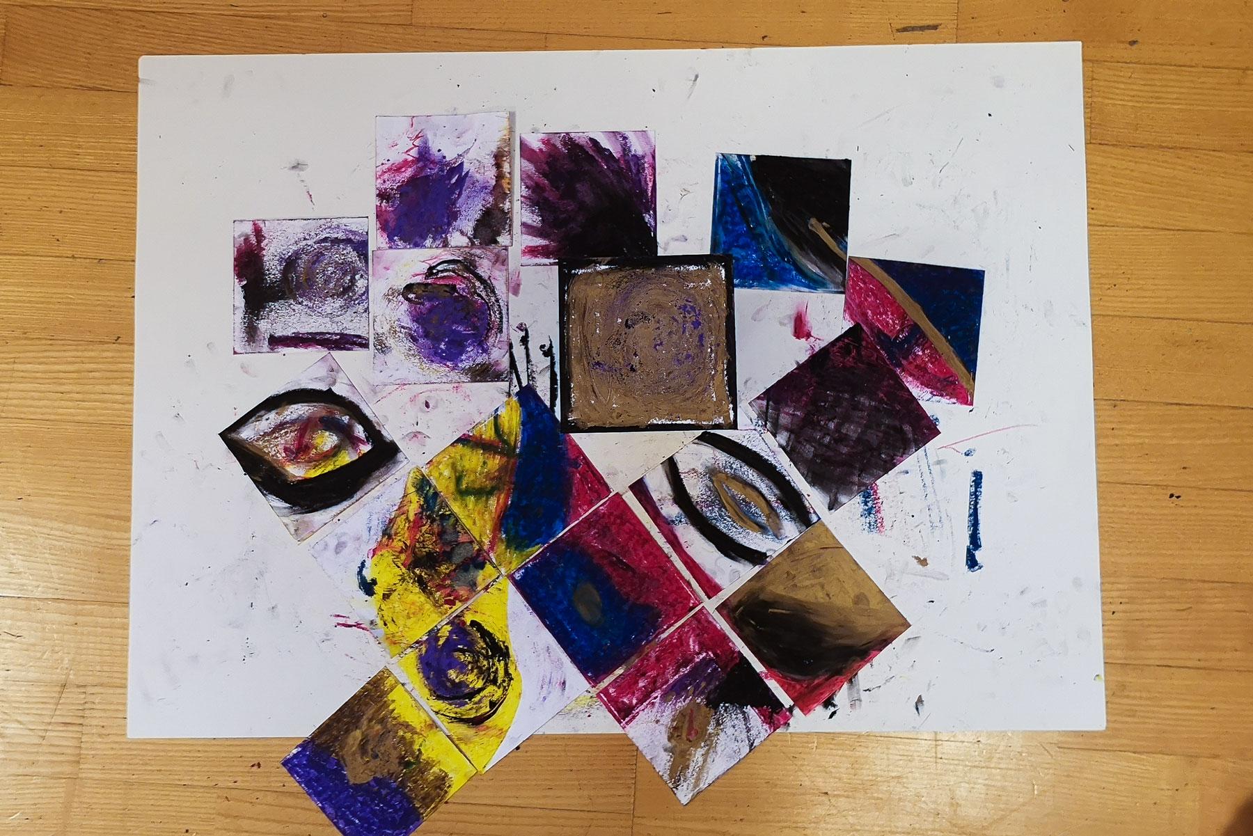 Spontanes Malen psychischer Themen im atelier mishugge des Multimedialen Kunsttherapeuten und Kreativtrainers Andreas Klambauer in Wien 15.